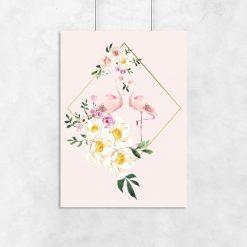 motyw kwiatów i flamingów