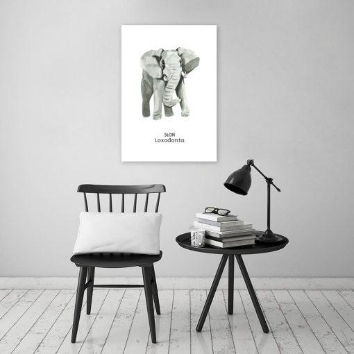 słoń jako dekoracja szara