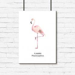 ścienna dekoracja z flamingiem