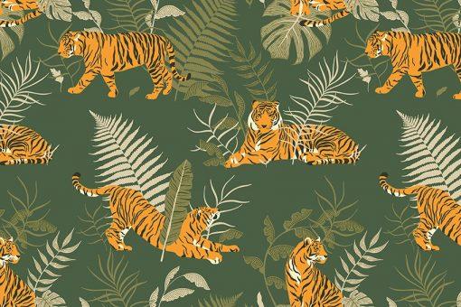 Tapeta ciemnozielona z tygrysami do sypialni
