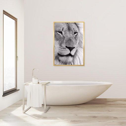 Plakat z motywem lwa do łazienki