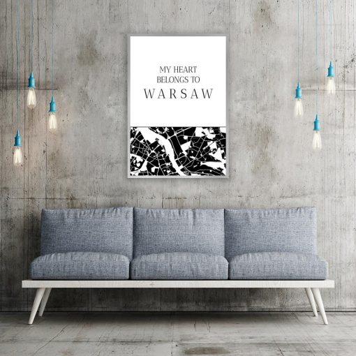 Plakat z mapą Warszawy do salonu