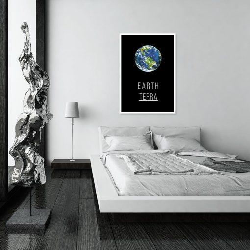 Plakat z motywem planety do sypialni