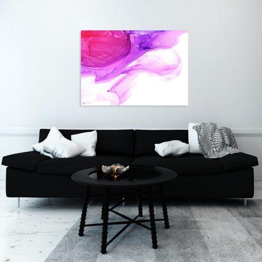 Różowo-fioletowy obraz do salonu