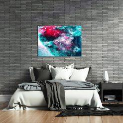 Obraz turkusowo czerwona abstrakcja