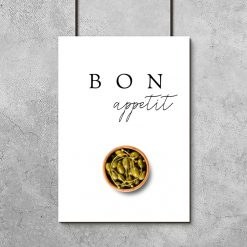 Plakat z napisem bon appetit