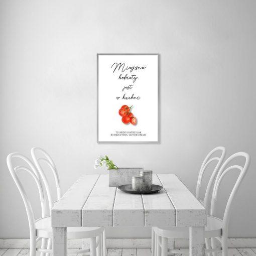 Plakat czarno-biały z elementem czerwieni do kuchni