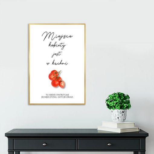 Plakat czarno-biały z napisem do kuchni