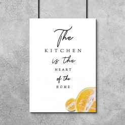Plakat z napisem i cytryną do kuchni