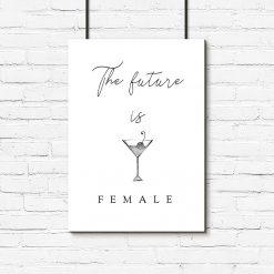 Plakat czarno-biały z kieliszkiem martini