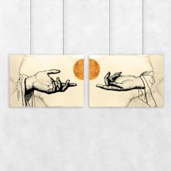 Kremowy dyptyk z dłońmi