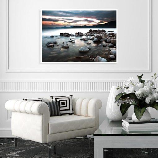 Plakat z jeziorem do salonu