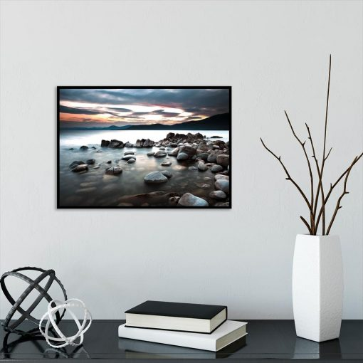 Plakat zachód słońca nad jeziorem