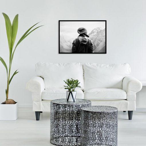 Plakat turysta i góry