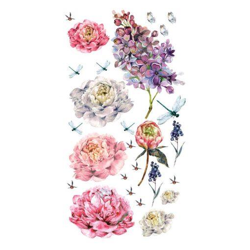 Naklejka ścienna ważki i kwiaty