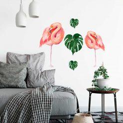 Naklejka na ścianę z flamingami