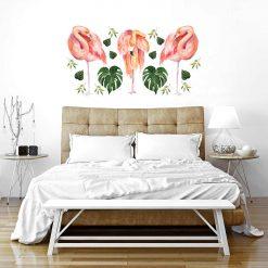 Naklejka ścienna różowe flamingi