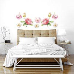 Naklejka różowo-kremowe kwiaty