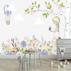 Tapeta dziewczynka i kwietna łąka