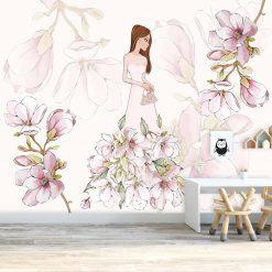Tapeta lalka i magnolia