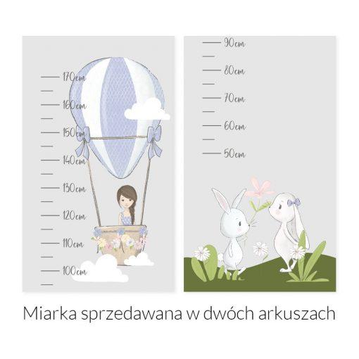 Miarka wzrostu króliczki i dziewczynka