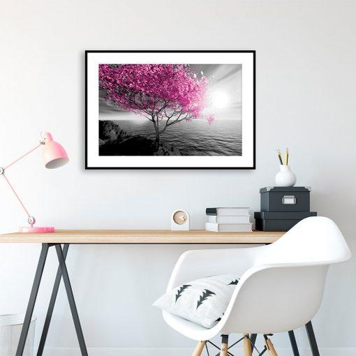 Plakat z krajobrazem i drzewem