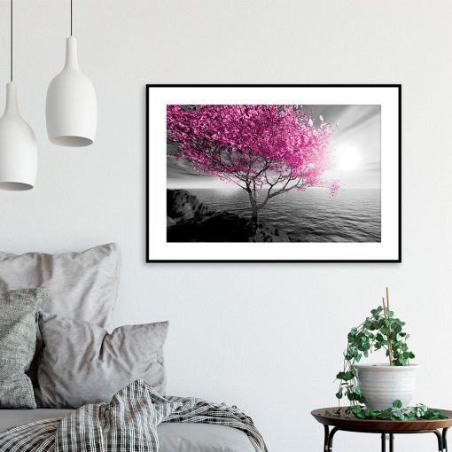Plakat morski krajobraz i drzewo