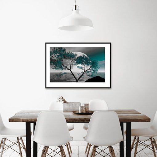 Plakat turkusowe drzewo