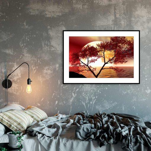 Plakat drzewo i księżyc