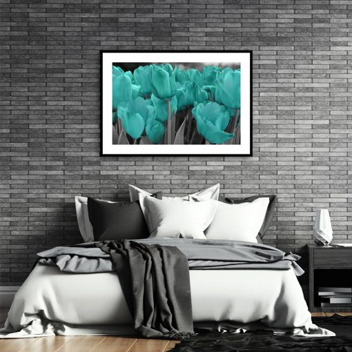 Plakat turkusowe kwiaty