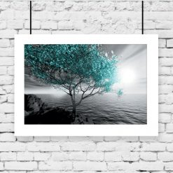 Plakat morze i turkusowe drzewo