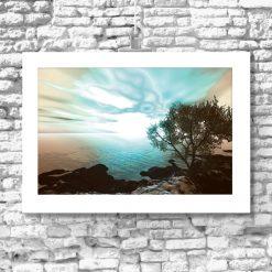 Plakat brzeg morza i drzewo