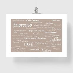 Plakat z nazwami kawy