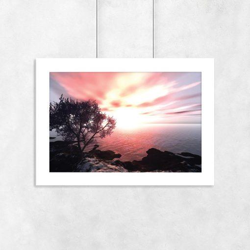 Plakat pomarańczowy zachód słońca