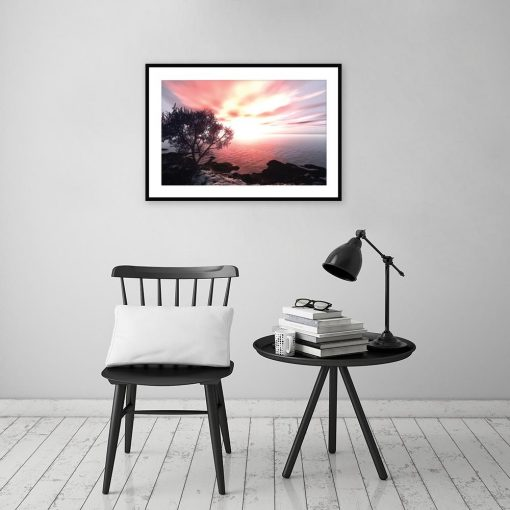 Plakat z zachodem słońca