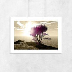Plakat motyw morza i drzewo
