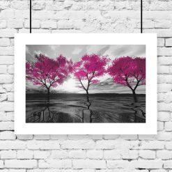 plakat różowe drzewa na ścianę
