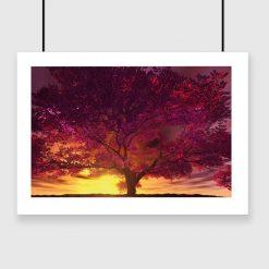 plakat zachód słońca i drzewo na ścianę