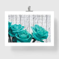 plakat z motywem turkusowych róż na ścianę