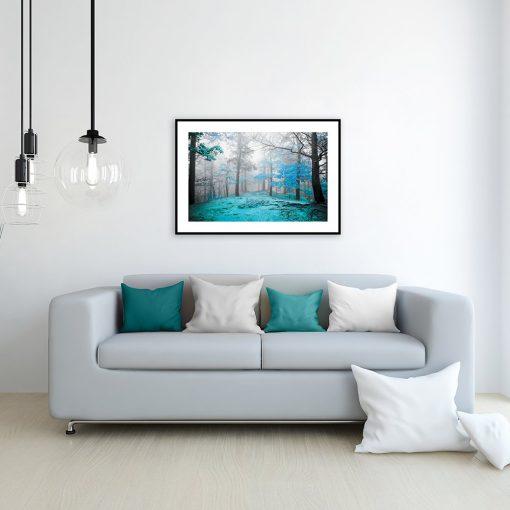 plakat las nad kanapę