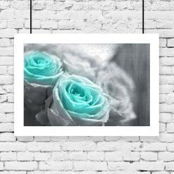 plakat niebieskie róże na ścianę