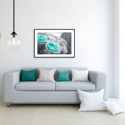 plakat z motywem róż na ścianę salonu