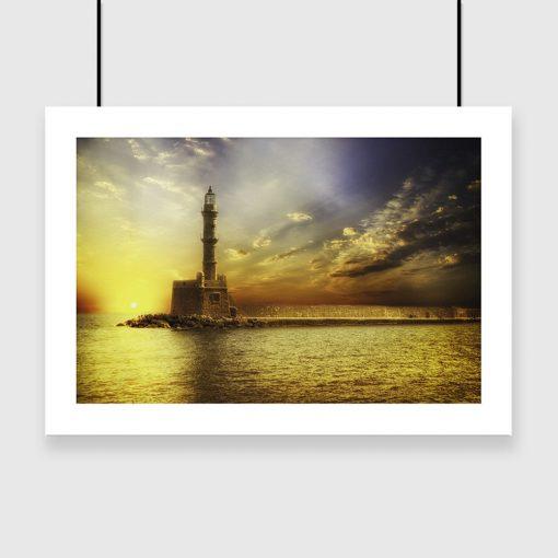plakat z motywem morskim i latarnią