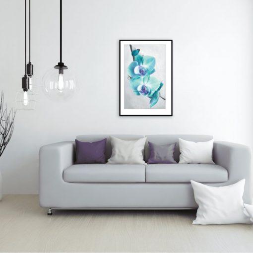 plakat z niebieskimi kwiatami do salonu