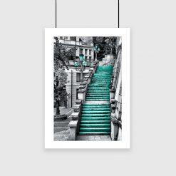 plakat z turkusowymi schodkami na ścianę