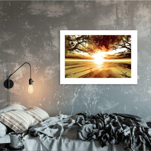 plakat z jeziorem do sypialni