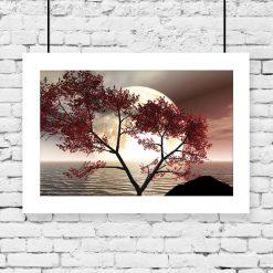 plakat jesienne drzewo nad morzem