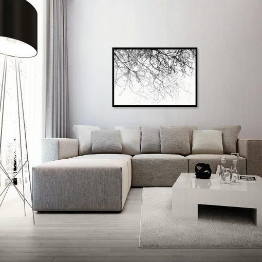 plakat z motywem gałęzi na ścianę salonu