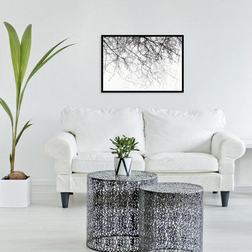 plakat z motywem gałęzi do salonu