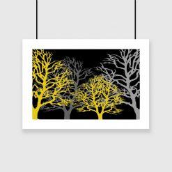 plakat z drzewami na ścianę